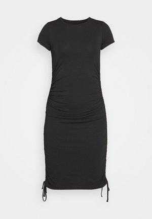 Rushing drawcord mini short sleeves basic dress - Etuikjole - black