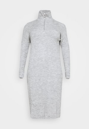 ZIP NECK DRESS  - Jumper dress - grey marl
