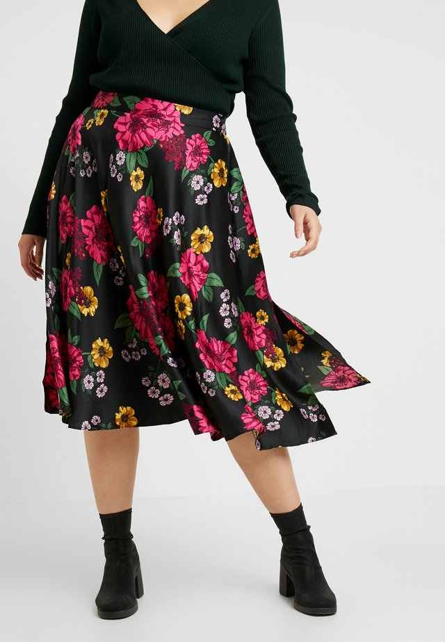 PRINTED PROM SKIRT - Gonna a campana - black/pink