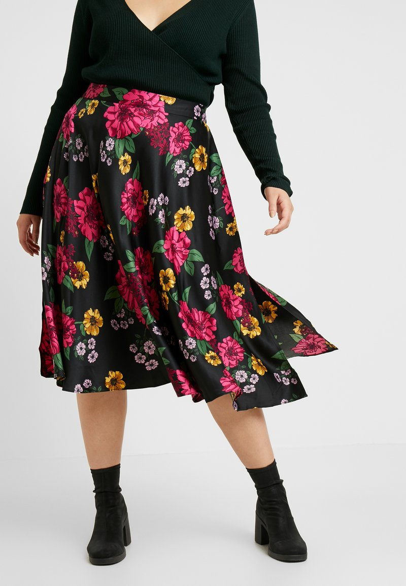 CAPSULE by Simply Be - PRINTED PROM SKIRT - A-line skirt - black/pink