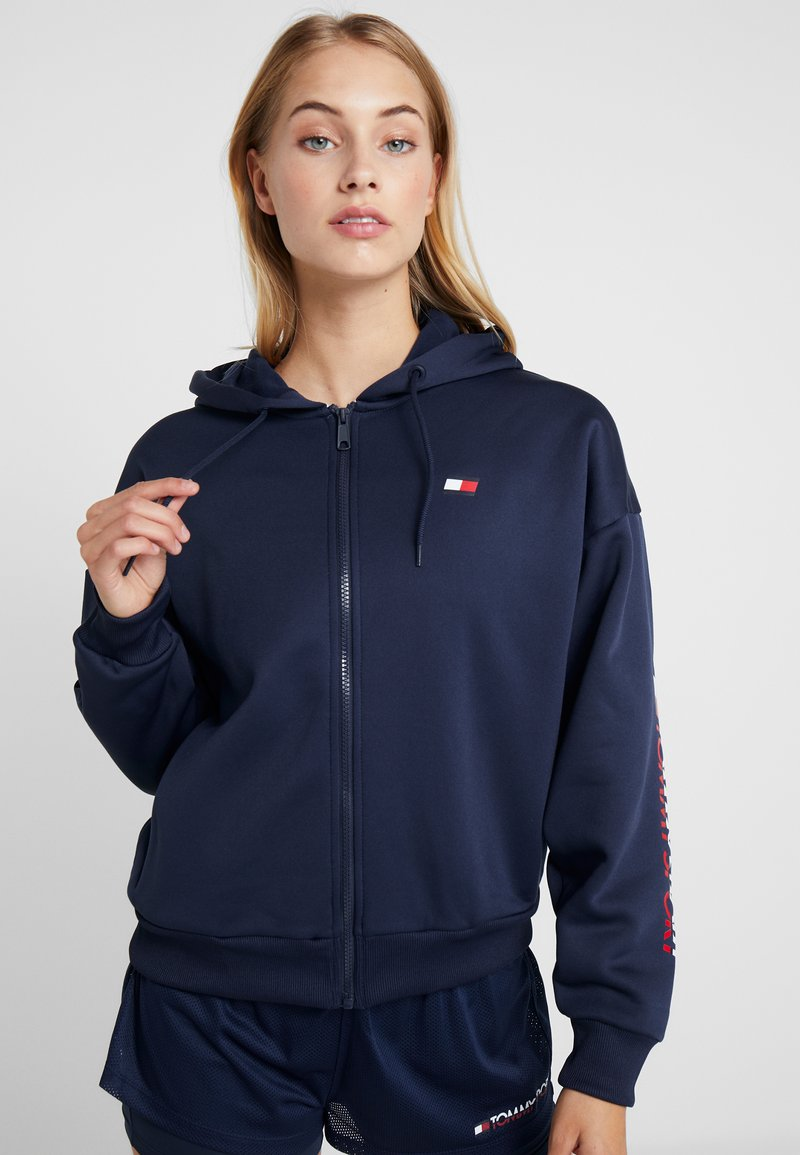 Tommy Sport - ZIP UP HOODY - Fleece jacket - blue