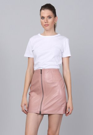 Leather skirt - powder