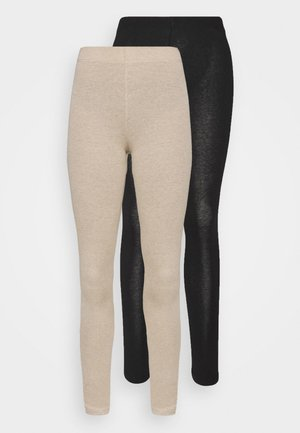 2 PACK - Leggings - black/mottled beige