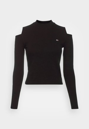 CROP CUT OUT - Long sleeved top - black