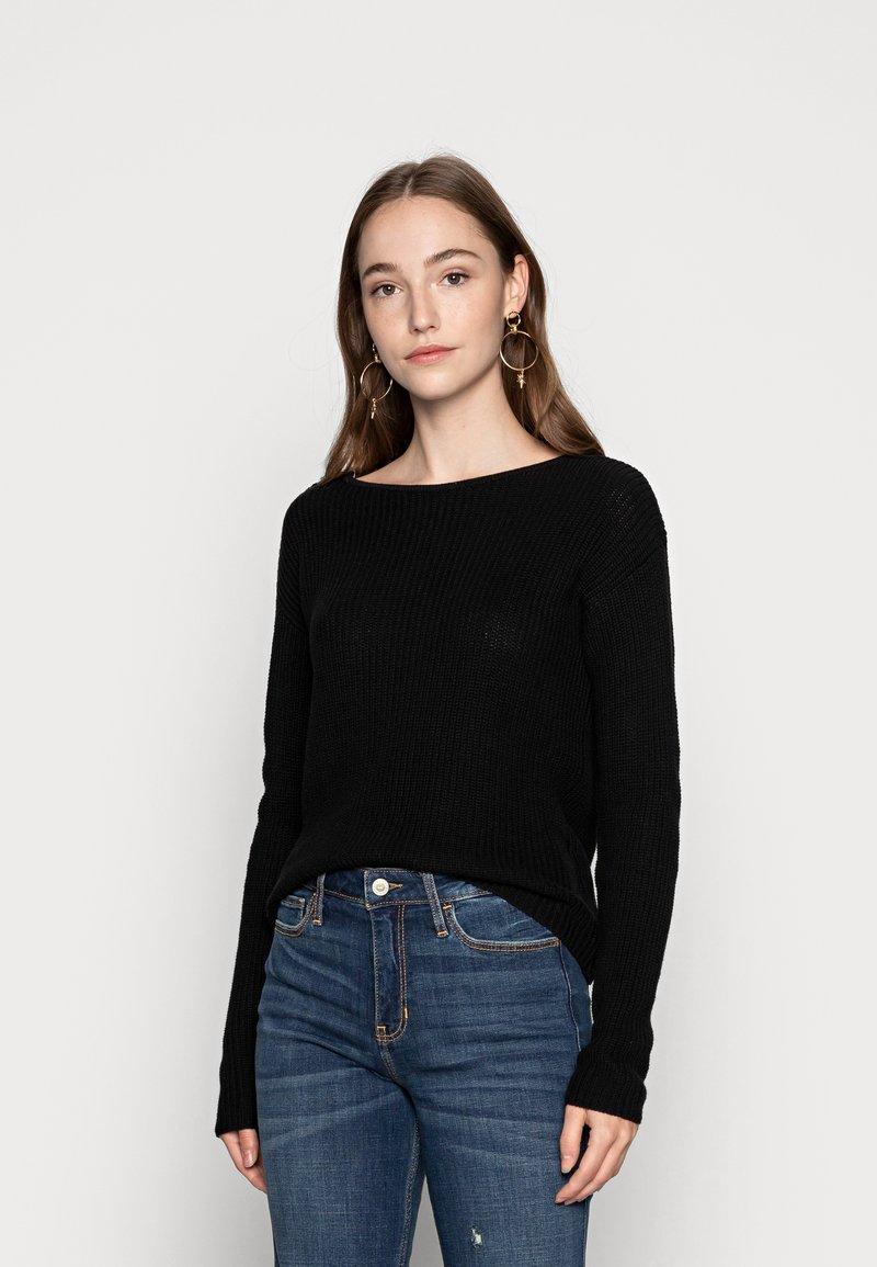 Even&Odd - BASIC- BACK DETAIL JUMPER - Pullover - black
