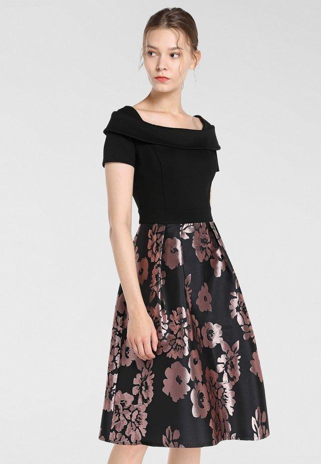 Vestito elegante - schwarz-mauve