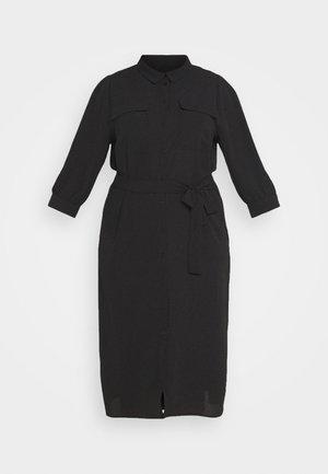 CARNOVA LONG SHIRT DRESS SOLID - Shirt dress - black