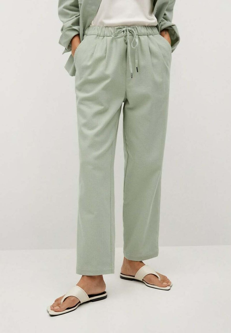 Mango - Trousers - verde agua
