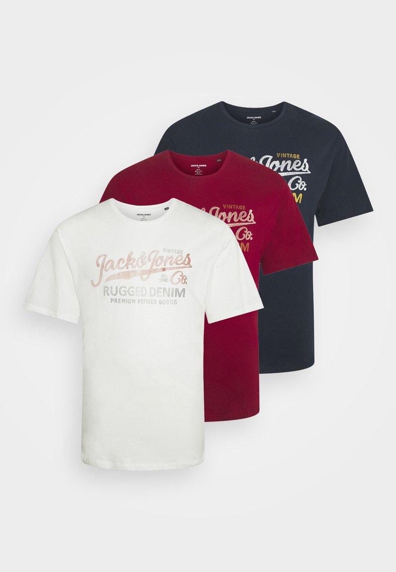 Jack & Jones - JPRBLUSTAR TEE MARCH 3 PACK - T-shirt z nadrukiem - navy blazer