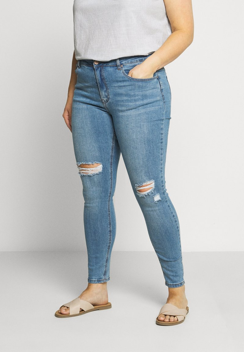 Lost Ink Plus - IN CADET WASH WITH RIPS - Jeans Skinny Fit - light denim