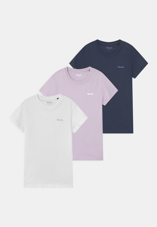 SHASTAM 3 PACK - T-shirts basic - white/lilac/navy