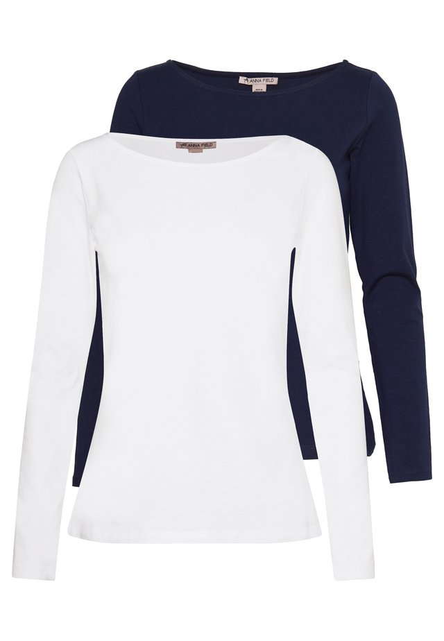 2 PACK - Long sleeved top - maritime blue/white