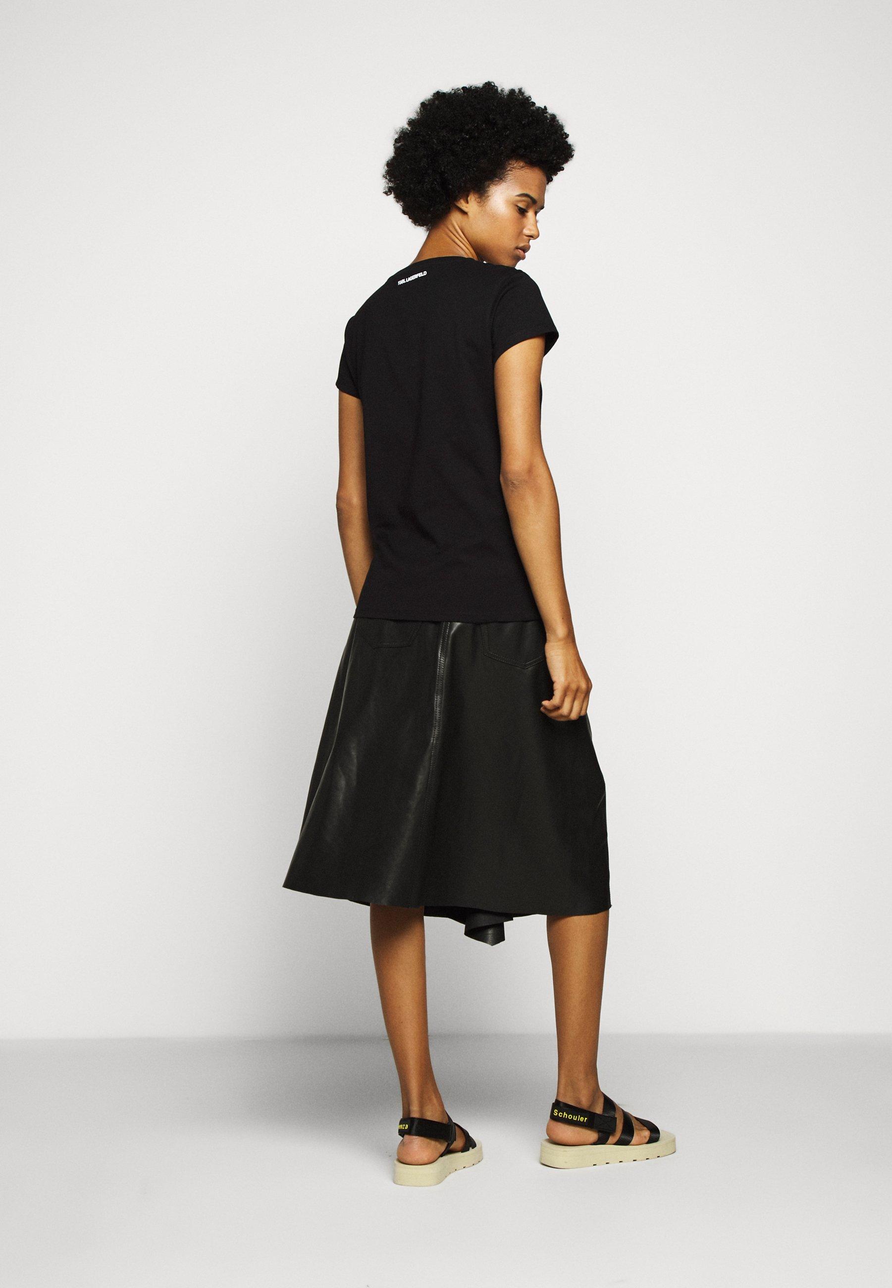 Best Price Women's Clothing KARL LAGERFELD ADDRESS LOGO POCKET Print T-shirt black AnsNuc9KG