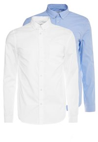 Pier One - 2 PACK - Camisa elegante - white/light blue - 0