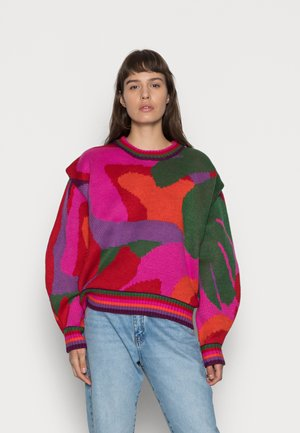 ABSTRACT SCARF SWEATER - Sweter - multi-coloured