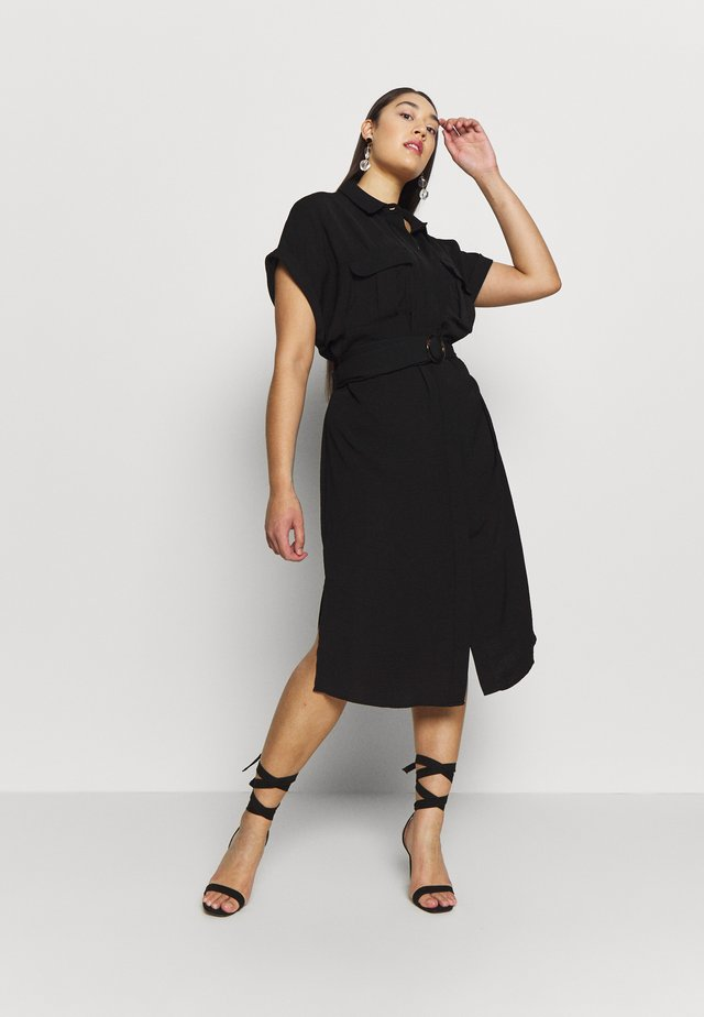 RUMPLE BELTED DRESS - Vestido camisero - black