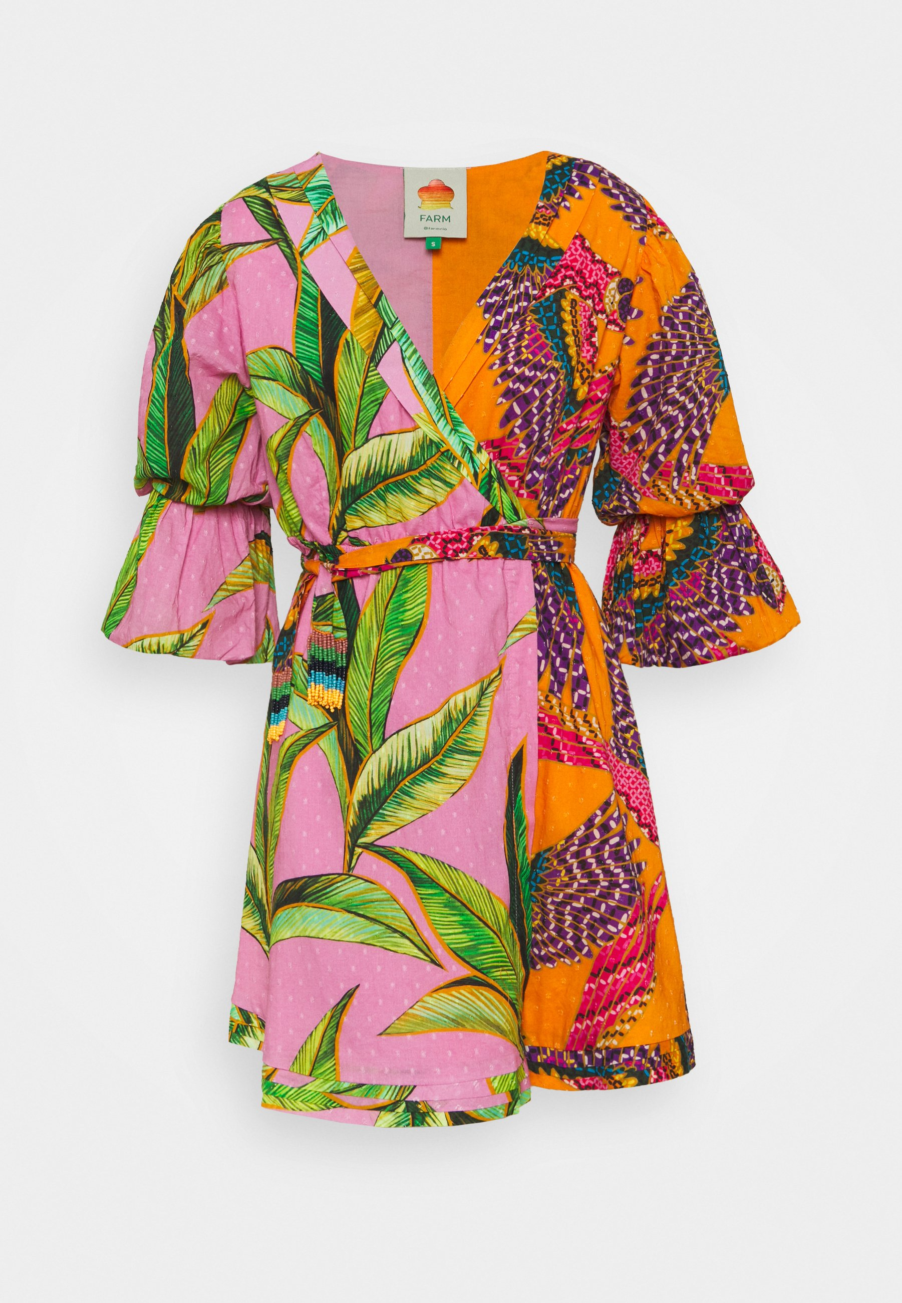 Women MIXED  MINI WRAP DRESS - Day dress - pink