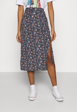 CHAIN CINCH MIDI - A-line skirt - blue