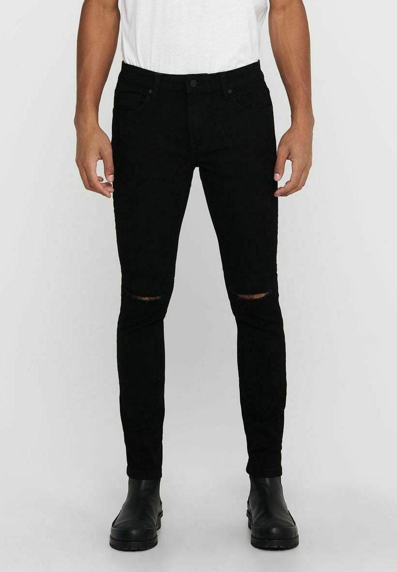 Only & Sons - ONSWARP LIFE KNEECUT - Jeans Skinny Fit - black denim