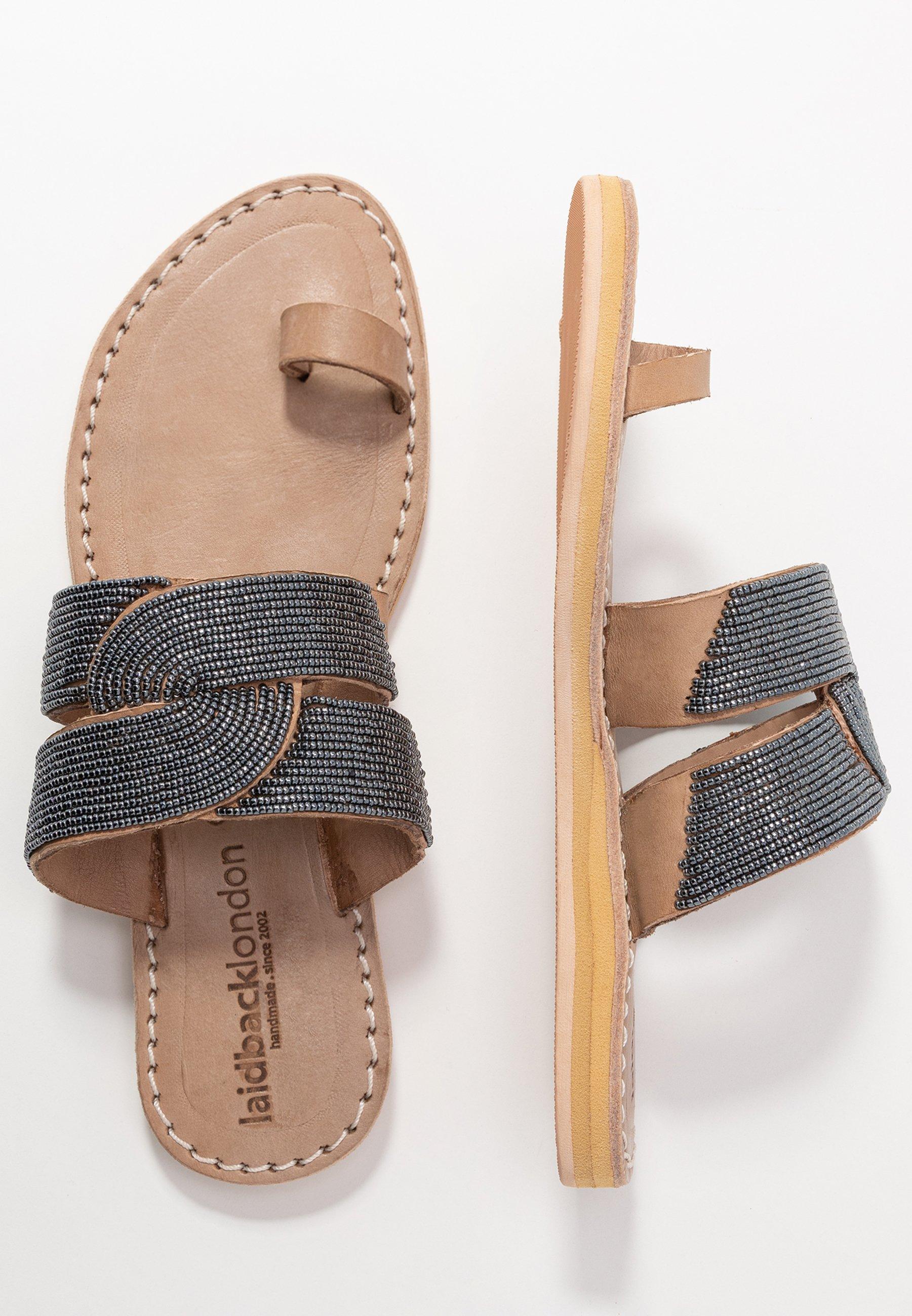laidbacklondon LAITH FLAT - Flip Flops - tan/metal silver/grey