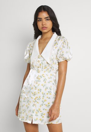 GAME FLORAL MINI DRESS - Košilové šaty - ivory