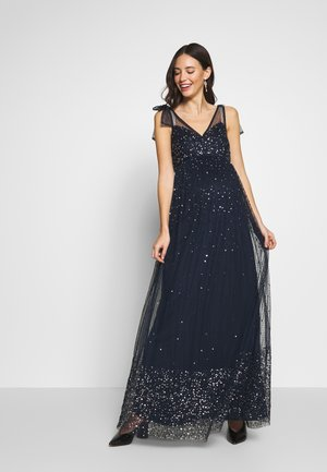 TIE SHOULDER MAXI DRESS - Abito da sera - navy