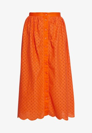 BRODERIE ANGLAIS MIDI SKIRT - A-line skjørt - bright orange