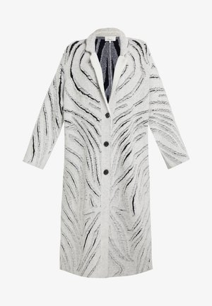 ZEBRA FRINGE COAT - Strickjacke - white/black