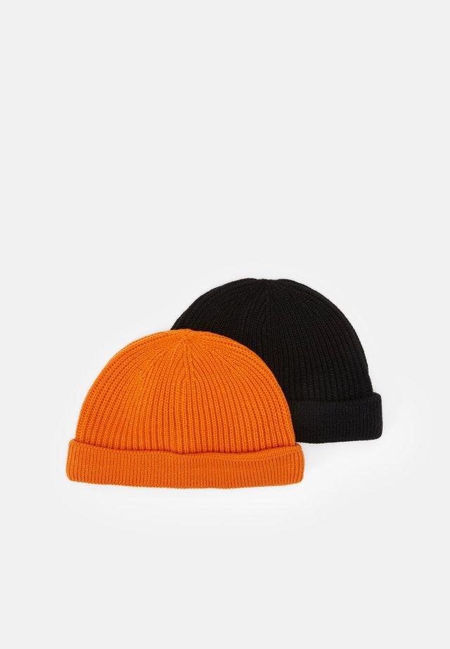ONSSHORT BEANIE 2 PACK - Bonnet - black/neon orange