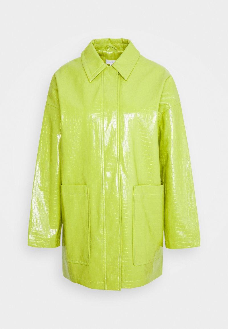 Topshop - ALMA CROC SHACKET - Short coat - green