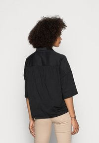 Marc O'Polo - JERSEY BLOUSE  SMALL STAND UP COLLAR BUTTON CLOSURE - Button-down blouse - dusty black - 2