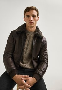 Massimo Dutti - Leather jacket - brown - 4