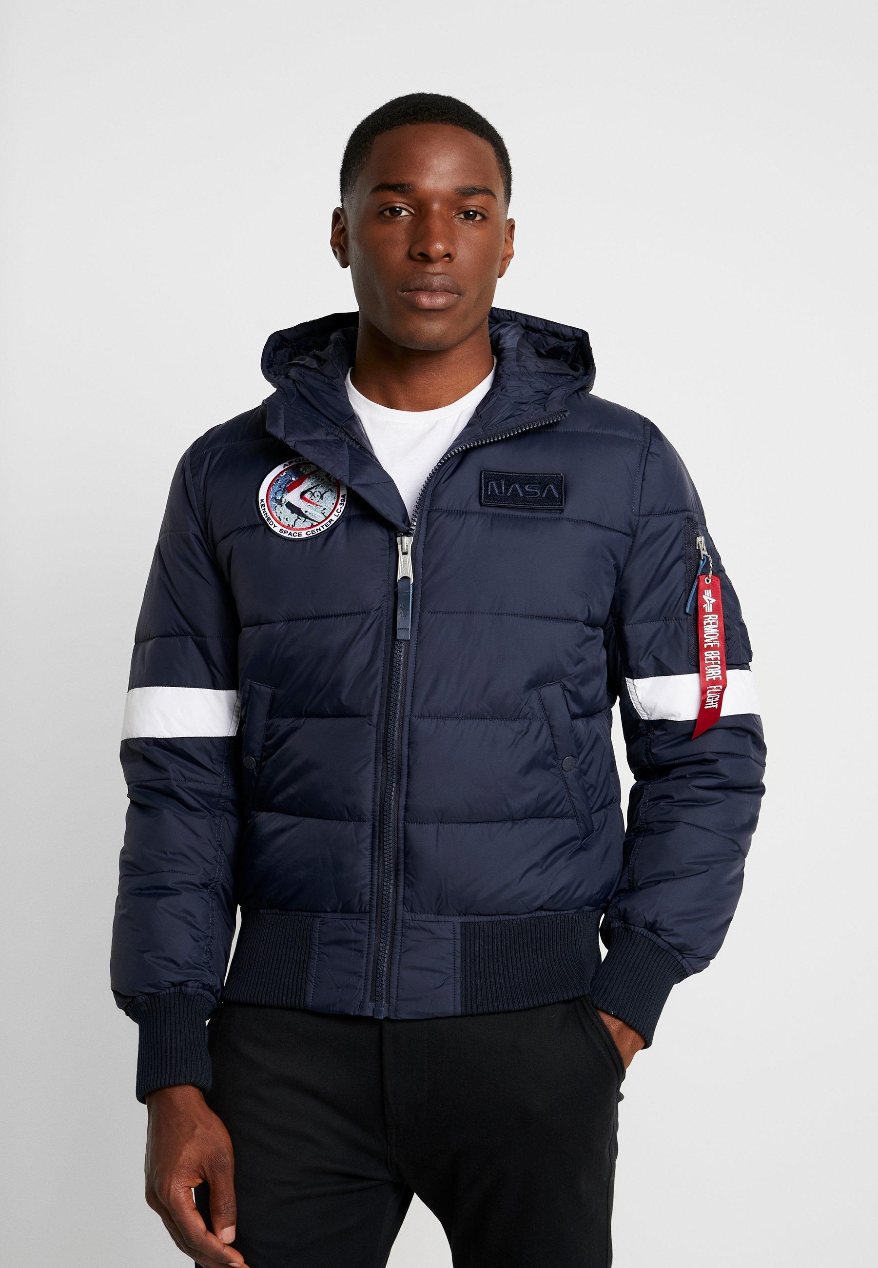 Men HOODED PUFFER NASA - Winter jacket - dark blue