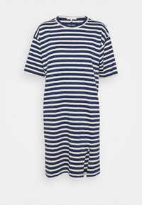 THE SLUB DRESS LABEL - Jersey dress - white/blue