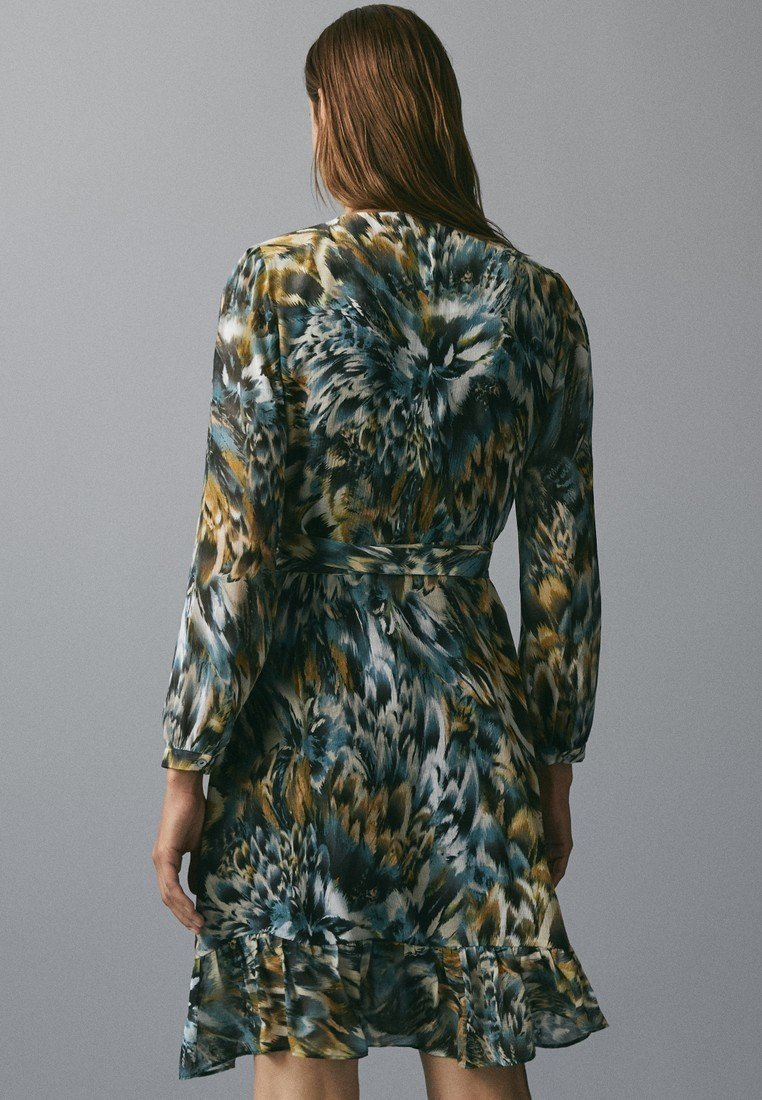 Extremely Wholesale Massimo Dutti BEDRUCKTES KLEID MIT VOLANTS 06620858 - Day dress - green   women's clothing 2020 1UCrM