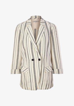 RETRO - Short coat - white woven stripes
