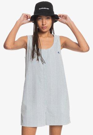 Korte jurk - dark blue seer sucker stripes