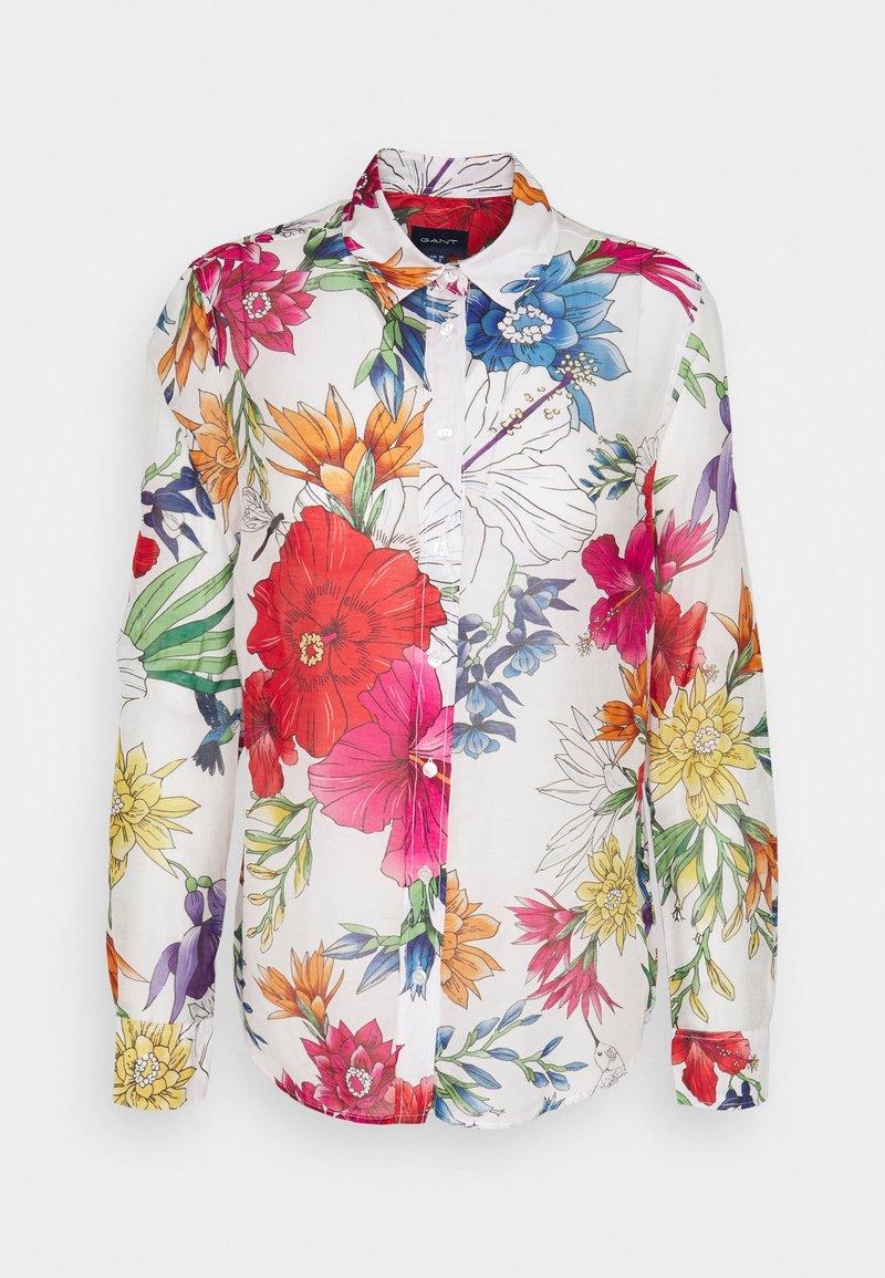 GANT - HUMMING FLORAL SHIRT - Button-down blouse - eggshell