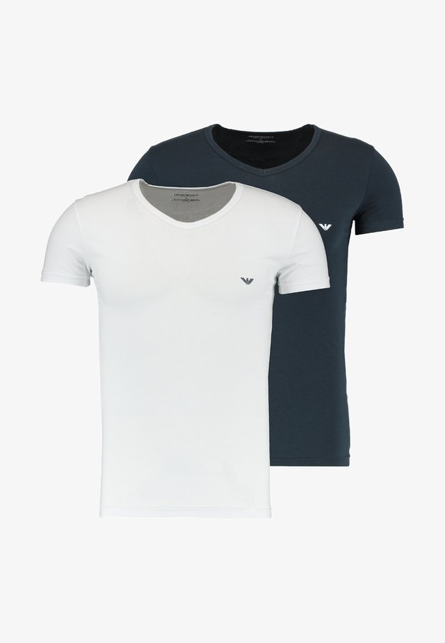 V NECK 2 PACK - Camiseta básica - white/navy blue