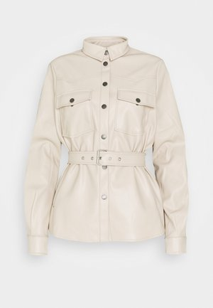 NMDUST BELT SHACKET - Faux leather jacket - taupe gray