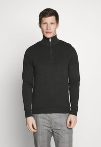Jack & Jones PREMIUM - JPRBLA BILLY HALF ZIP - Jumper - dark grey melange - 0