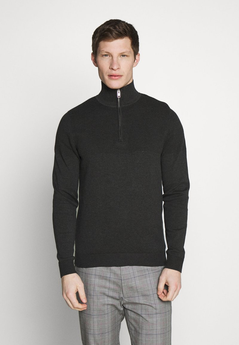 Jack & Jones PREMIUM - JPRBLA BILLY HALF ZIP - Jumper - dark grey melange