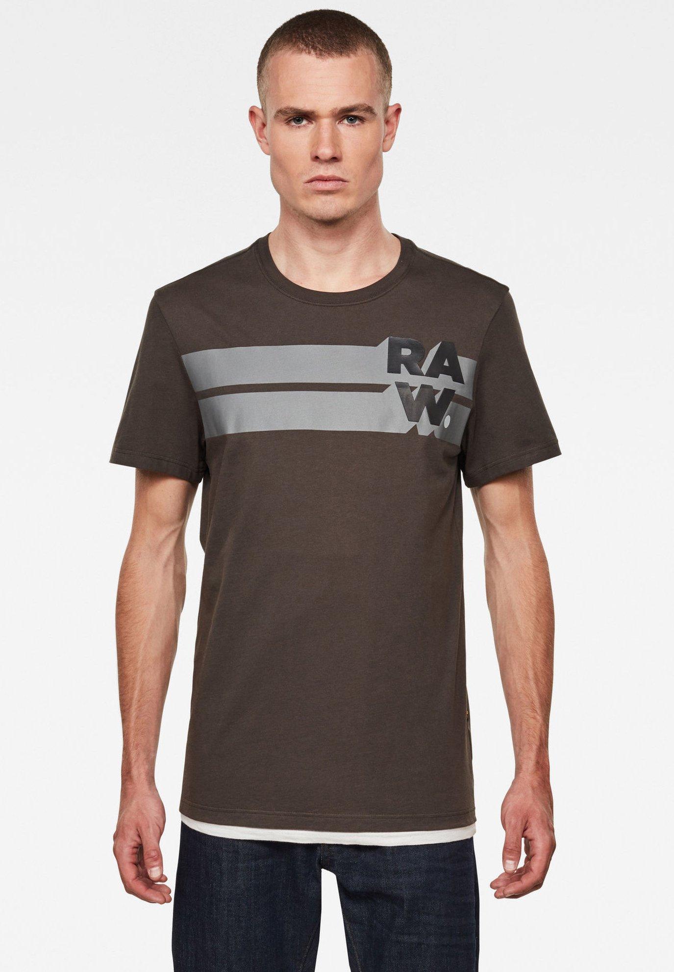 Homme RAW. STRIPE GRAPHIC ROUND SHORT SLEEVE - T-shirt imprimé