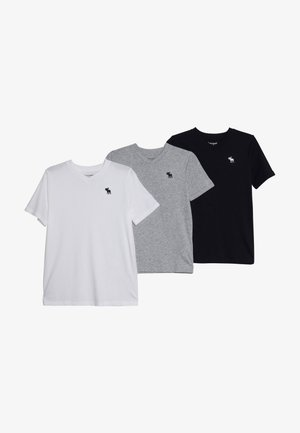 V NECK 3 PACK - T-shirts basic - navy/white/grey