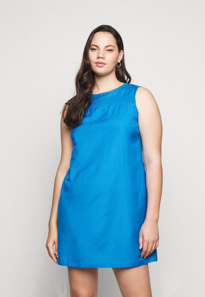 CAPSULE by Simply Be - CROCHET SHIFT DRESS - Day dress - azure blue