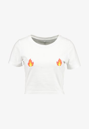 LADIES FLAMES CROPPED TEE - T-shirts med print - white