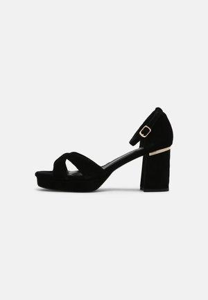 LEATHER - Korkeakorkoiset sandaalit - black