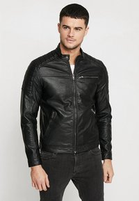Jack & Jones - JJEROCKY JACKET - Imitert skinnjakke - black - 0