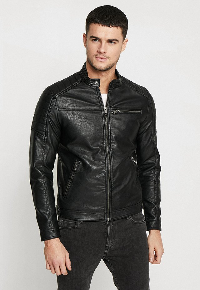JJEROCKY JACKET - Faux leather jacket - black
