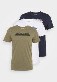 Jack & Jones - JORHARRY  TEE CREW NECK 3 PACK - T-shirt print - white/khaki/blue - 5